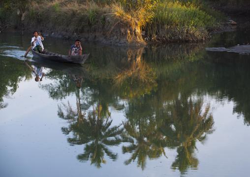 Men In A Boat On A River, Mrauk U, Myanmar