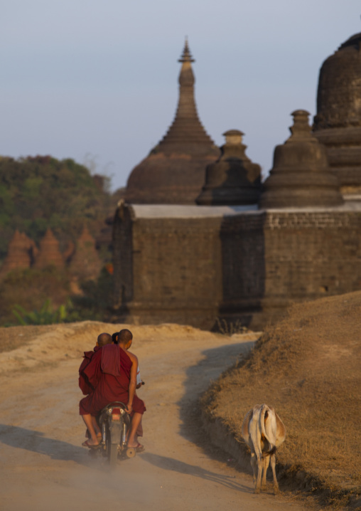 Monks on a motorcycle passing in front of a buddhist temple, Mrauk u, Myanmar