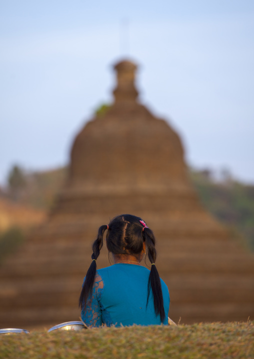 Girl In Front Of Buddhist Temple, Mrauk U, Myanmar