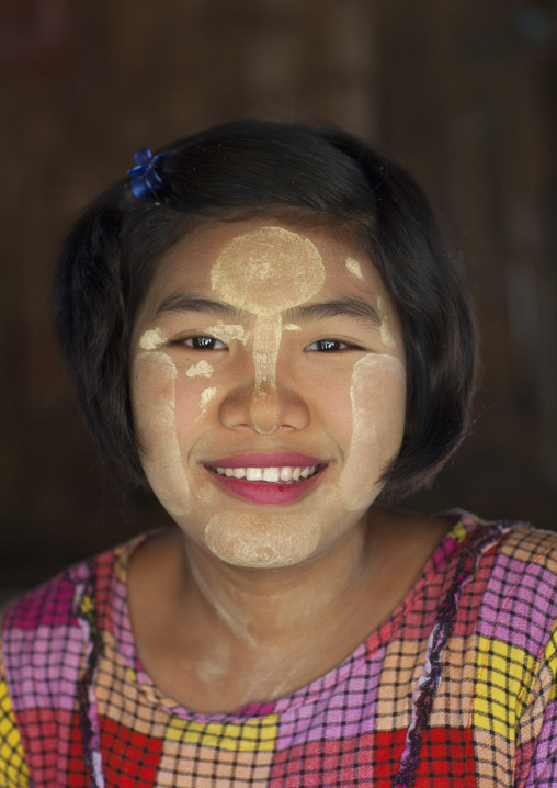 Smiling Burmese Girl With Thanaka On The Face, Mrauk U, Myanmar