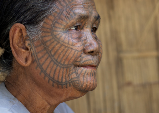 Tribal Chin Woman With Spiderweb Tattoo On The Face, Mrauk U, Myanmar
