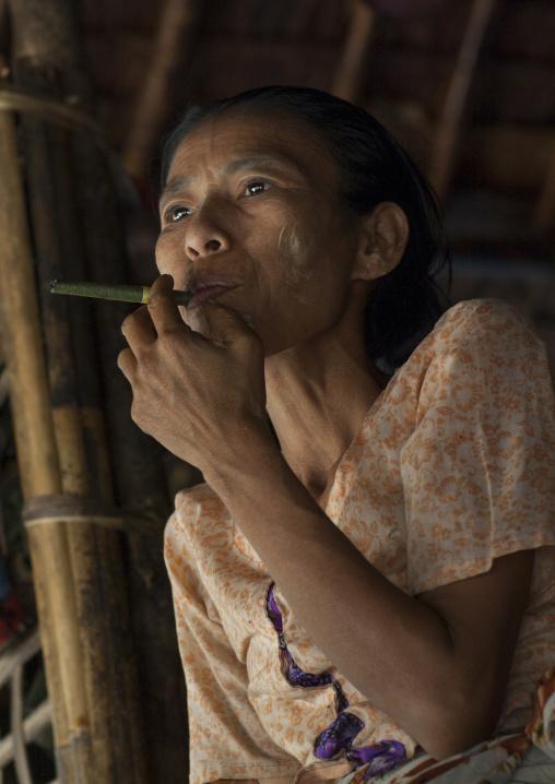 Burmese Woman Smoking A Cigar, Mrauk U, Myanmar