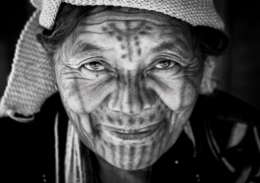 Tribal Chin Woman From Muun Tribe With Tattoo On The Face, Mindat, Myanmar