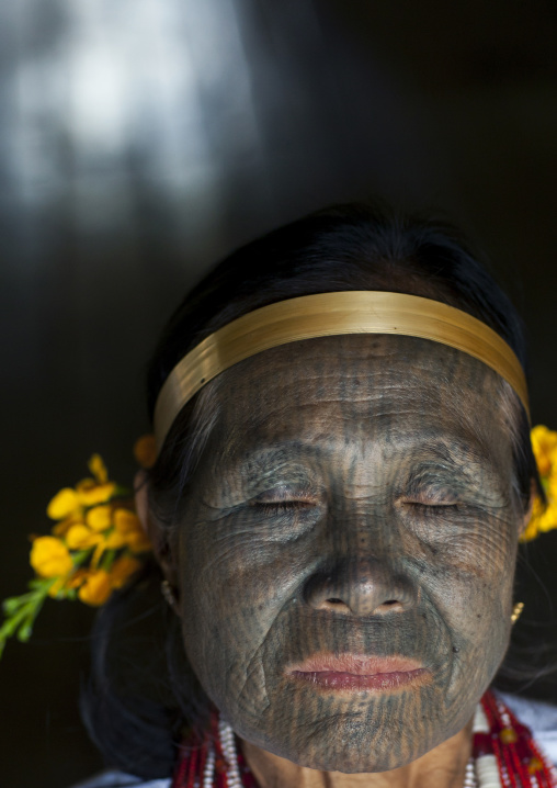 Miss Heu From Muun Tribe With Tattoo On The Face, Kanpelet, Myanmar