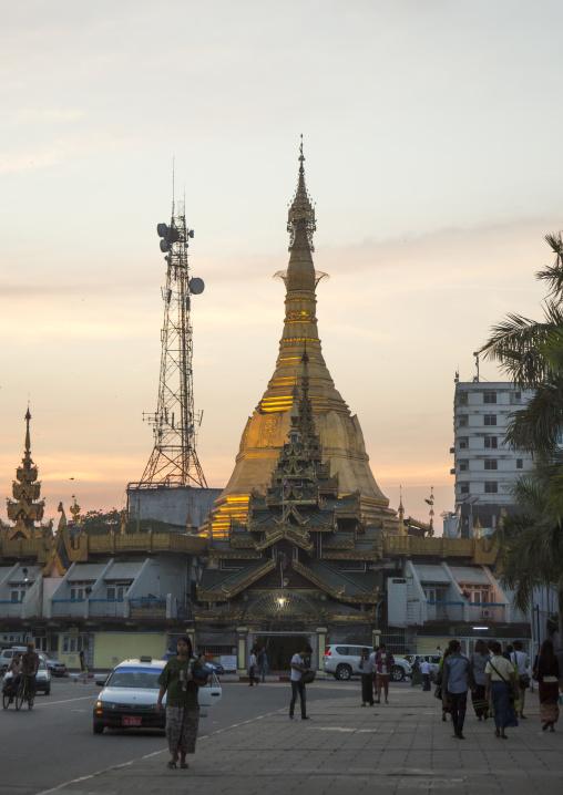 Stupa and mobile phone antenna, Yangon, Myanmar