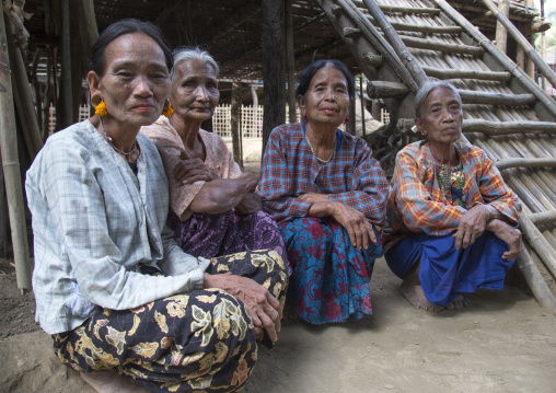 Tribal chin women with spiderweb tattoo on the faces, Mrauk u, Myanmar