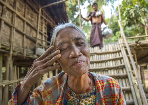 Sad Tribal Chin Woman With Spiderweb Tattoo On The Face, Mrauk U, Myanmar