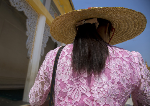 Rear View Of A Burmese Woman, Bagan, Myanmar