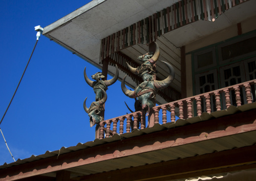 Buffalos and gaurs skulls on a chin house, Mindat, Myanmar
