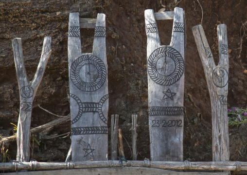 Y Shape Totems Representing The Animal Sacrifices, Mindat, Myanmar