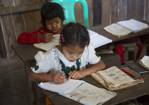 Chin children in a classroom, Mindat, Myanamar