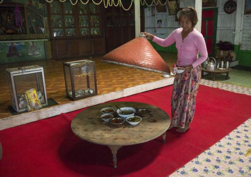 Burmase Woman Having A Meal In A Monastery, Mindat, Myanmar