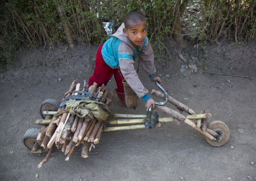 Boy With A Bicycle Made With Bamboos, Mindat, Myanmar