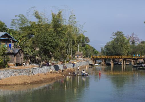 People Wasing Clothes, Inle Lake, Myanmar