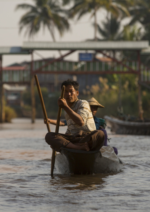 Man Rowing In A Boat, Inle Lake, Myanmar