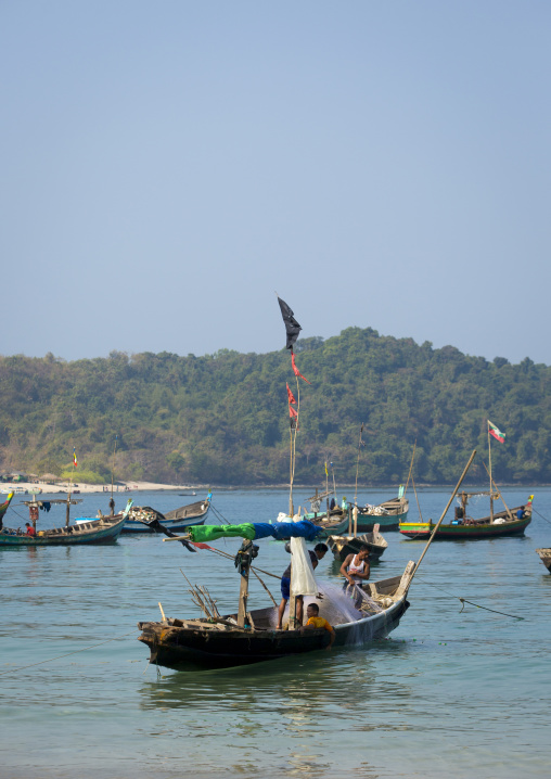 Fishing boats, Ngapali, Myanmar