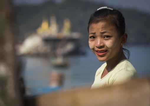 Girl With Thanaka On Cheeks, Ngapali, Myanmar
