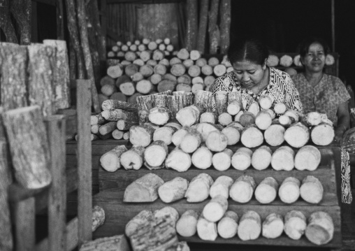 Woman Selling Thanaka In A Market, Ngapali, Myanmar