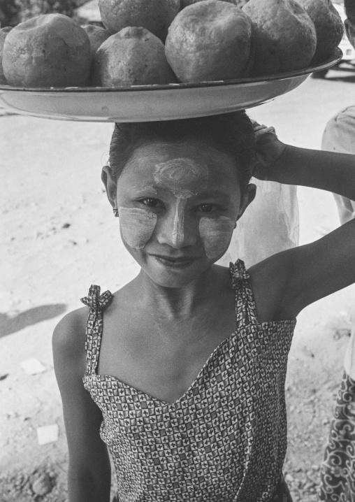 Burmese Girl Selling Coconuts, Ngapali, Myanmar