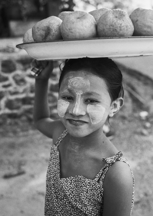 Burmese Girl Selling Coconuts , Ngapali, Myanmar