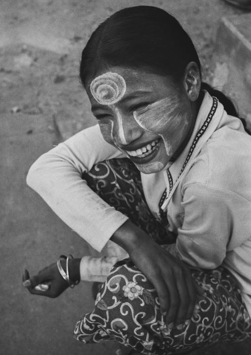 Woman Smiling With Thanaka, Yangon, Myanmar
