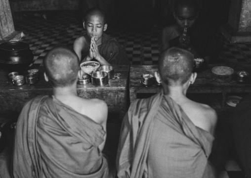 Young Novices Praying Before Eating, Mrauk U, Myanmar