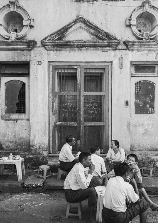 Men eating in the old colonial dictrict, Yangon, Myanmar
