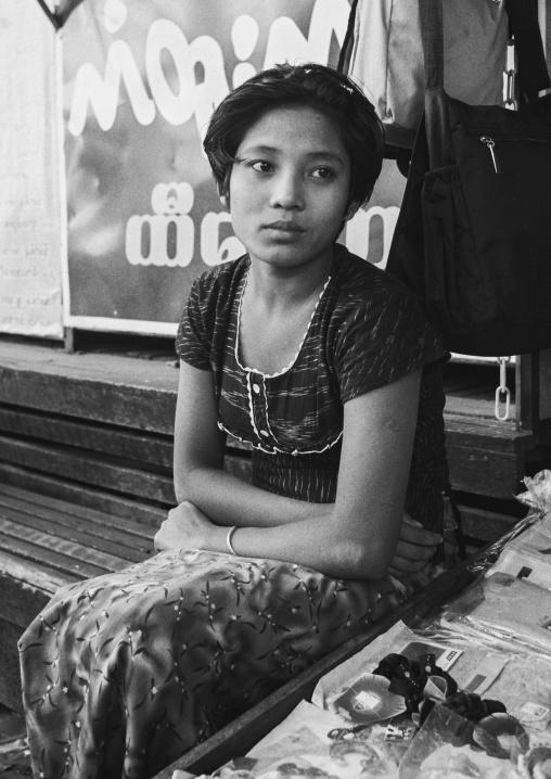 Young Burmese Woman With Thanaka, Yangon, Myanmar