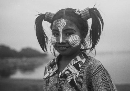 Cute Girl With Thanaka On Cheeks, Yangon, Myanmar