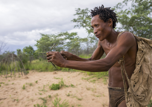 Bushman With A Small Bow They Use To Declare Their Love, Tsumkwe, Namibia