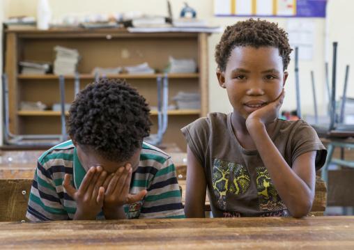 Bushman Children In A Classroom, Grashoek Primary School., Namibia