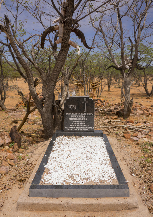 Himba Graves With Cow Horns, Epupa, Namibia