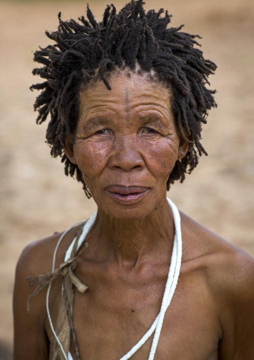 Bushman Woman With Traditional Hairstyle, Tsumkwe, Namibia