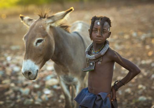 Himba Girl With Her Donkey, Epupa, Namibia