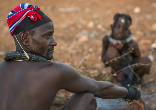 Himba Family In Front Of The Sacred Fire, Epupa, Namibia