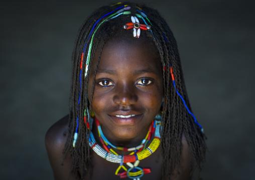 Mucawana Tribe Girl With Big Necklace, Ruacana, Namibia