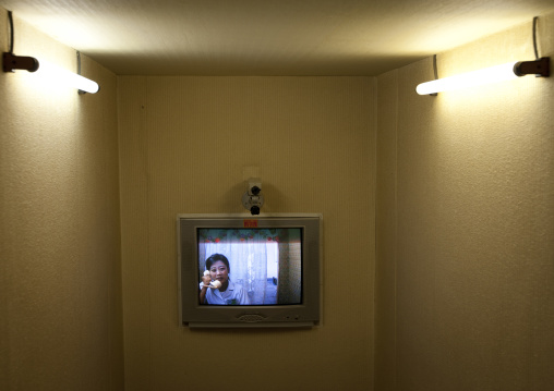 Television in maternity hospital room allowing to visitors to watch the mother and her baby, Pyongan Province, Pyongyang, North Korea