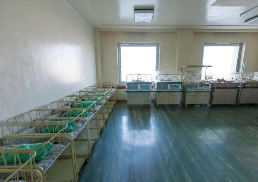 Newborn babies in a maternity, Pyongan Province, Pyongyang, North Korea