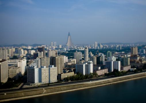 View across Taedong river from Yanggakdo hotel towards city centre, Pyongan Province, Pyongyang, North Korea