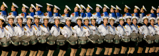 Sexy North Korean women dressed as sailors during the Arirang mass games in may day stadium, Pyongan Province, Pyongyang, North Korea