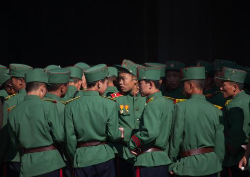 Group of North Korean soldiers in green uniforms, Pyongan Province, Pyongyang, North Korea