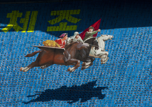 Chollima horses made by children pixels holding up colored boards during Arirang mass games in may day stadium, Pyongan Province, Pyongyang, North Korea