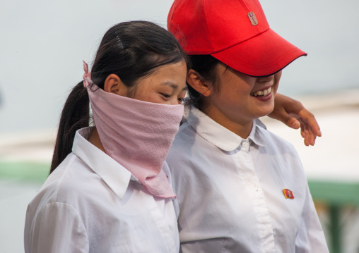 North Korean young women in the street, Pyongan Province, Pyongyang, North Korea