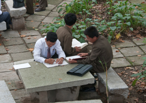 North Korean students working in a park, South Hamgyong Province, Hamhung, North Korea