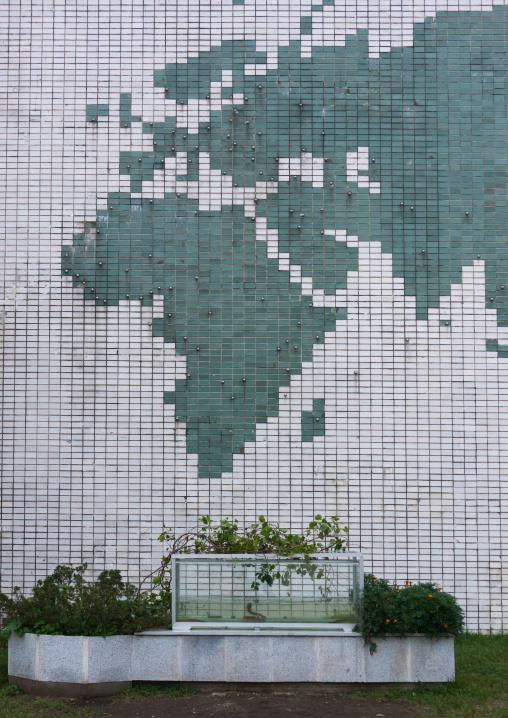 Mosaic map of the world in Songdowon international children's camp, Kangwon Province, Wonsan, North Korea
