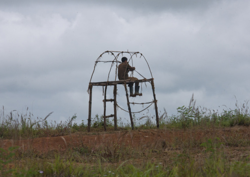 North Korean man watching and guarding crops from a high chair, North Hamgyong Province, Chilbosan, North Korea