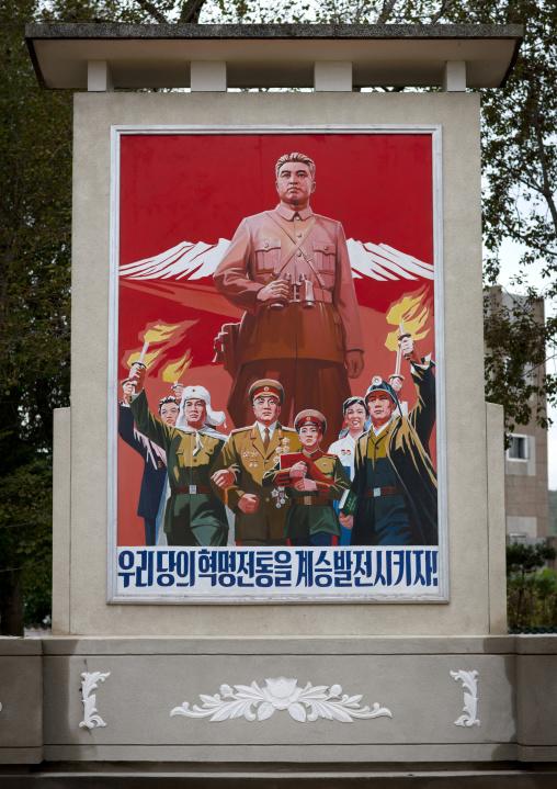 Propaganda billboard of Kim il Sung in front of mount Paektu, Ryanggang Province, Samjiyon, North Korea