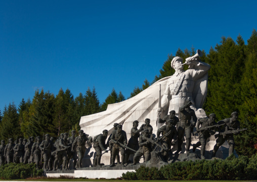 Statues in the Grand monument of lake Samji, Ryanggang Province, Samjiyon, North Korea