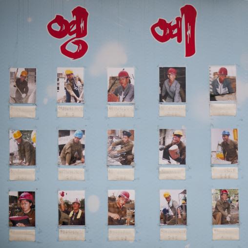 Board of North Korean workers elected as model employees, Pyongan Province, Pyongyang, North Korea