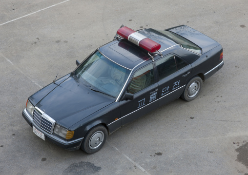 High angle view of a North Korean black police car on a parking, Pyongan Province, Pyongyang, North Korea